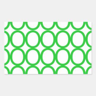 Chapoteo verde y blanco de los o pegatina rectangular