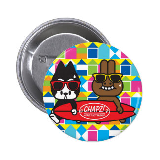 ¡CHAPZ! botón que practica surf Pin Redondo De 2 Pulgadas