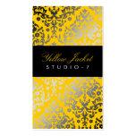 Chaqueta amarilla del damasco del deslumbramiento  plantilla de tarjeta personal