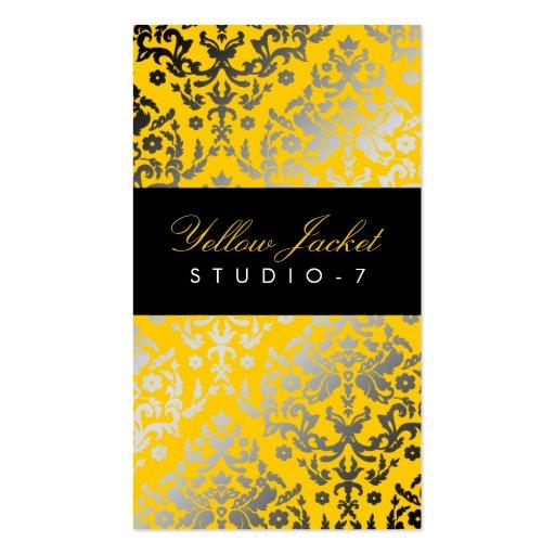 Chaqueta amarilla del damasco del deslumbramiento tarjetas de visita