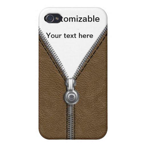 Chaqueta de cuero de Brown con la cremallera y la  iPhone 4 Carcasa