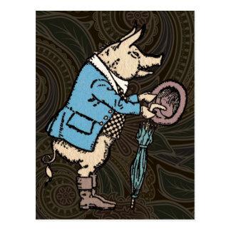 Chaqueta que lleva del cerdo del vintage postales