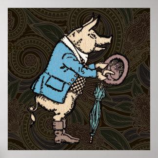 Chaqueta que lleva del cerdo del vintage póster
