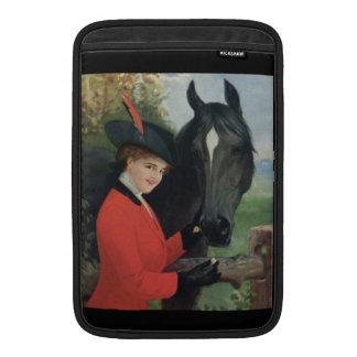 Chaqueta roja del montar a caballo de la mujer neg funda macbook air