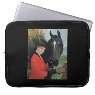 Chaqueta roja ecuestre del montar a caballo del ca fundas computadoras