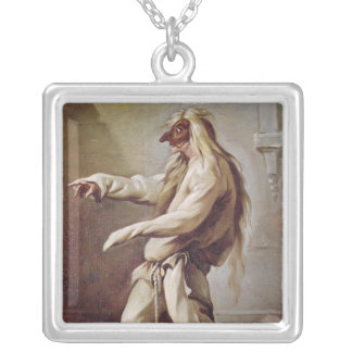 Character from the Commedia dell'Arte Silver Plated Necklace