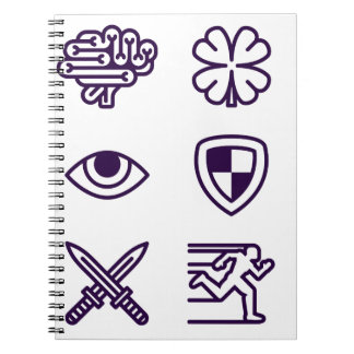 Character Game Attributes Icon Set Notebook