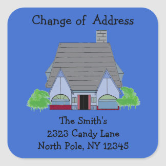 Character Home Change of Address Square Sticker
