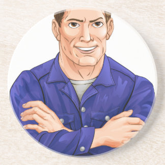 Character in overalls coaster