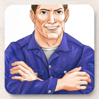 Character in overalls coasters