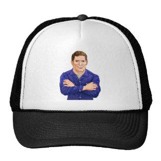 Character in overalls trucker hat