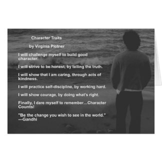 """Character Traits"" affirmation note card (blank)"