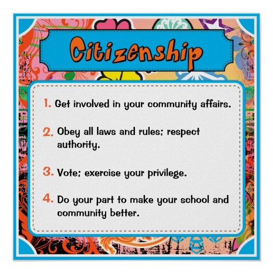 Character Traits Posters, Citizenship - 5 of 6 Poster | Zazzle