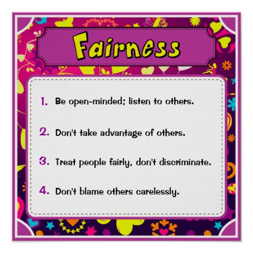 Character Traits Posters, Fairness - 4 of 6 Poster