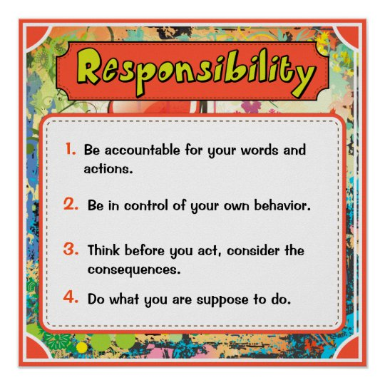character traits posters responsibility 6 of 6 poster zazzle com