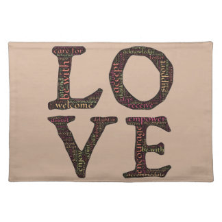 CHARACTERISTICS OF TRUE LOVE TYPOGRAPHY CLOTH PLACE MAT