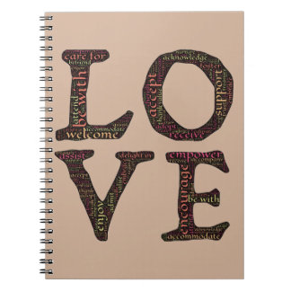 CHARACTERISTICS OF TRUE LOVE TYPOGRAPHY SPIRAL NOTEBOOK