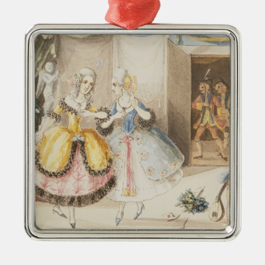 Characters from 'Cosi fan tutte' by Mozart, 1840 Metal Ornament