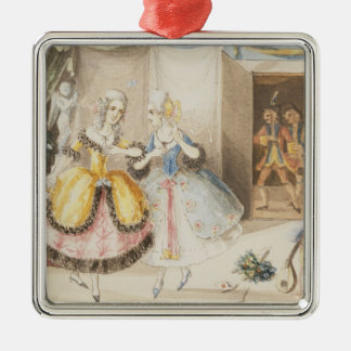 Characters from 'Cosi fan tutte' by Mozart, 1840 Square Metal Christmas Ornament