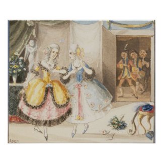 Characters from 'Cosi fan tutte' by Mozart, 1840 Poster
