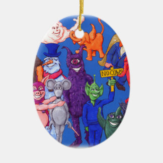 Characters from Space Cows Ceramic Ornament