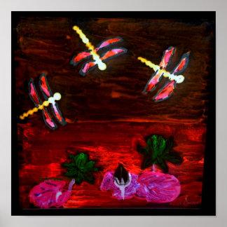 Charca abstracta del lirio de la libélula póster