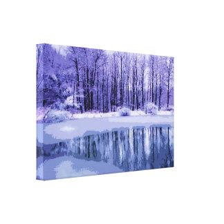 Charca azul del invierno lona envuelta para galerías
