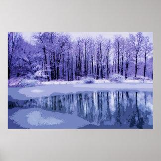 Charca azul del invierno poster