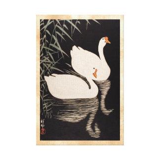 Charca blanca del cisne del ukiyo-e japonés clásic impresión en lona estirada