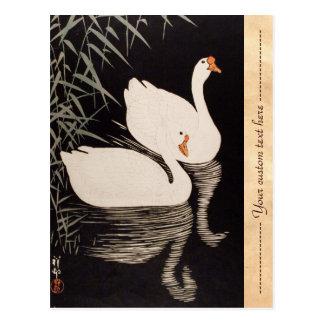 Charca blanca del cisne del ukiyo-e japonés clásic tarjeta postal