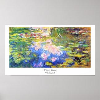 Charca Claude Monet del lirio de agua Póster