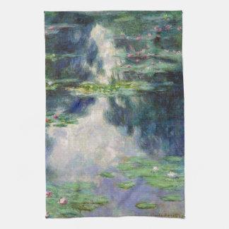 Charca con la bella arte de Monet de los lirios de Toallas De Cocina