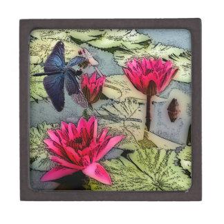 Charca de la libélula caja de recuerdo de calidad