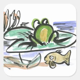 Charca de la rana - por encima y por debajo de pegatina cuadrada