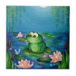 Charca de la rana y del lirio azulejos ceramicos