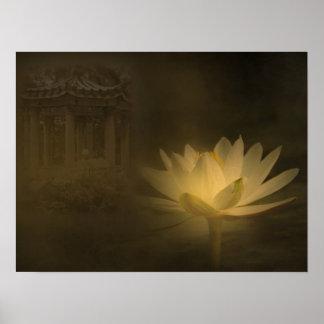 Charca de Lotus misteriosa con el lirio de agua il Posters