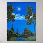 Charca del claro de luna - paisaje de la fantasía impresiones
