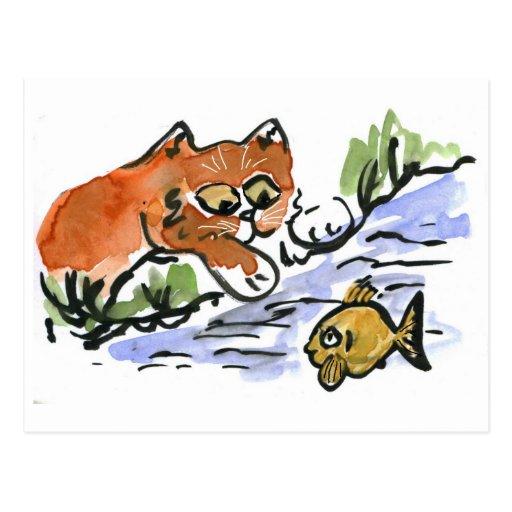 Charca del jardín y gatito curioso postal