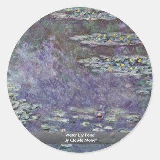 Charca del lirio de agua de Claude Monet Etiquetas Redondas