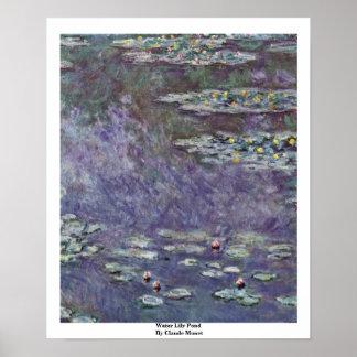 Charca del lirio de agua de Claude Monet Póster