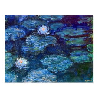 Charca del lirio de agua del impresionismo en azul tarjetas postales