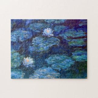 Charca del lirio de agua en la bella arte azul de puzzle
