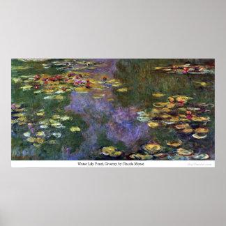 Charca del lirio de agua, Giverny de Claude Monet Póster