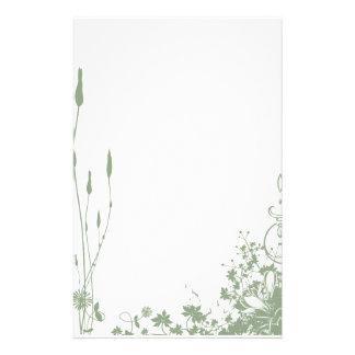 Charca floral verde inmóvil  papeleria de diseño