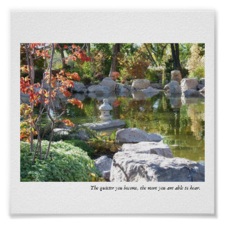 Charca japonesa del jardín - más reservado usted h póster