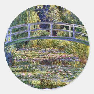 Charca japonesa del lirio del puente y de agua pegatinas redondas