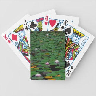 Charca rosada de la flor del lirio de agua del lot barajas de cartas