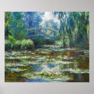 Charca y bella arte japonesa de Monet del puente Póster