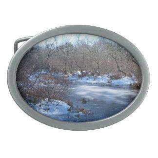 Charcas del humedal en invierno hebillas cinturon ovales