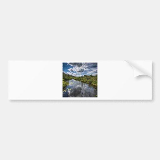 Charcas del río del país del agua etiqueta de parachoque